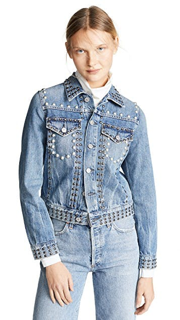 citizens of humanity, jean jacket, denim jacket, cropped jacket, shrunken jacket, studded denim, pearl denim, lightwash denim