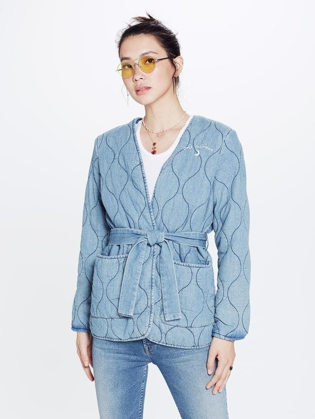 mother, denim jacket, jean jacket, denim robe, quilted denim, lightwash denim, denim wrap