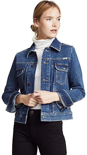 wrangler, denim jacket, jean jacket, western jacket, pleated denim, shrunken denim jacket, medium wash denim