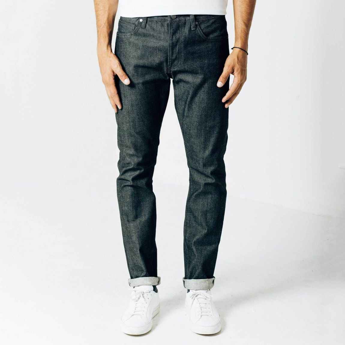 dstld, dstld jeans, raw denim, tonal stitching, selvedge denim, sanfornized denim, dark blue jeans, slim jeans