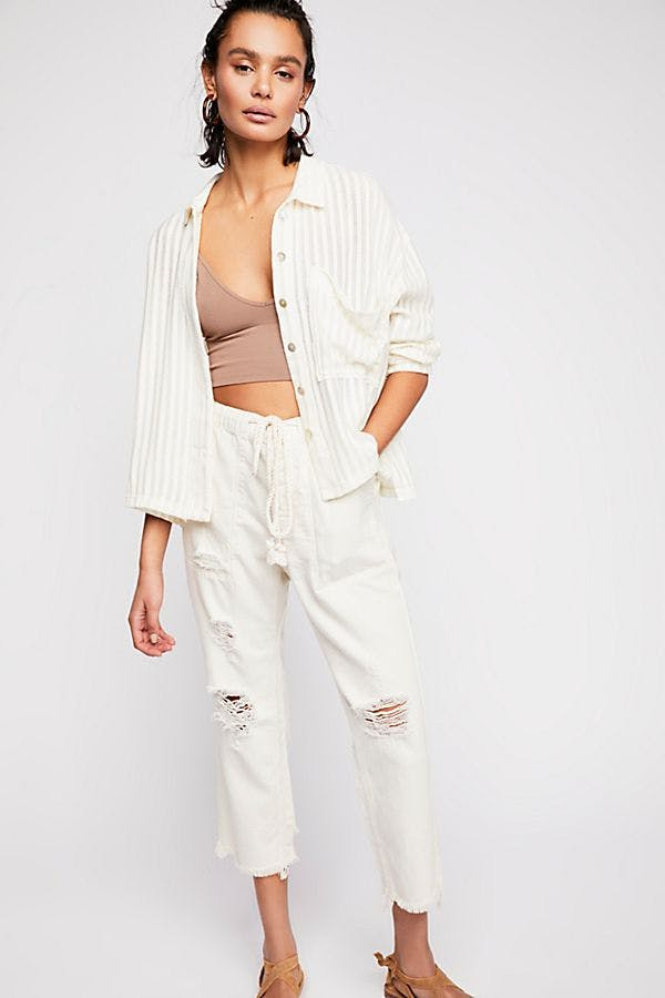 Northern Sky Pull On Crop Jeans