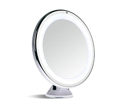 Sanheshun 7X Magnifying Lighted Travel Makeup Mirror,Touch Activated, Locking Suction Mount, Battery Operated, Round