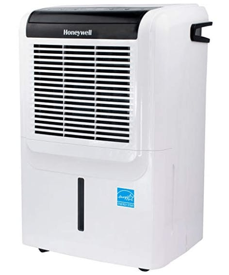 Honeywell Energy Star 50 Portable Vertical 14.4-Pint Bucket Capacity, LED Display and Digital Humidstat Control, White Dehumidifier with Built-in Drain Pump