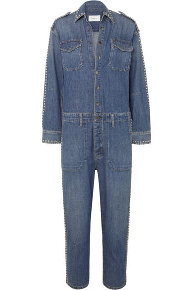 current/elliott, denimblog, denim jumpsuit, denim romper, studded denim