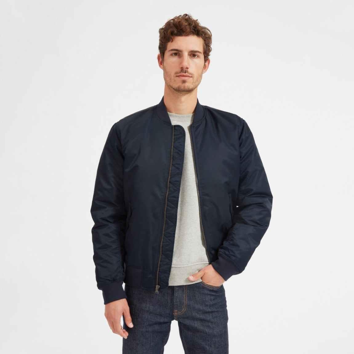 everlane, everlane jacket, bomber jacket, nylon jacket, flight jacket, navy jacket, denimblog, denim blog