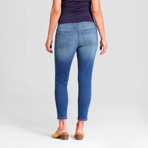 Maternity Crossover Panel Skinny Crop Jeans