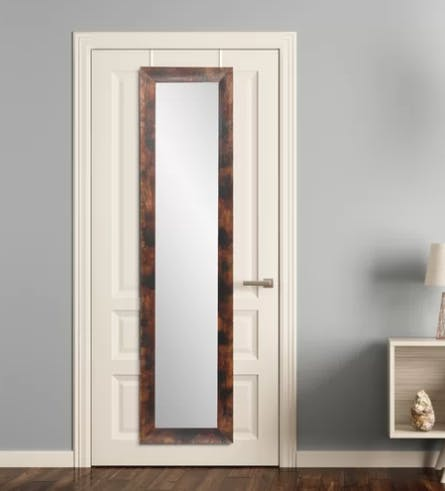Horn Burnt Mahogany Over the Door Mirror Full Length Mirror