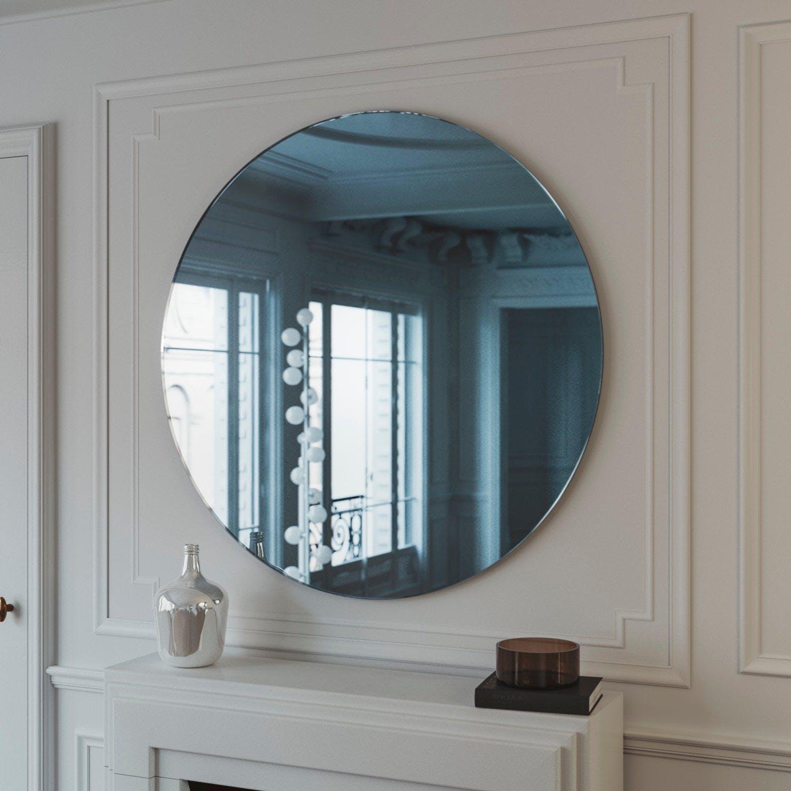 Blue Art Deco Style Mirror