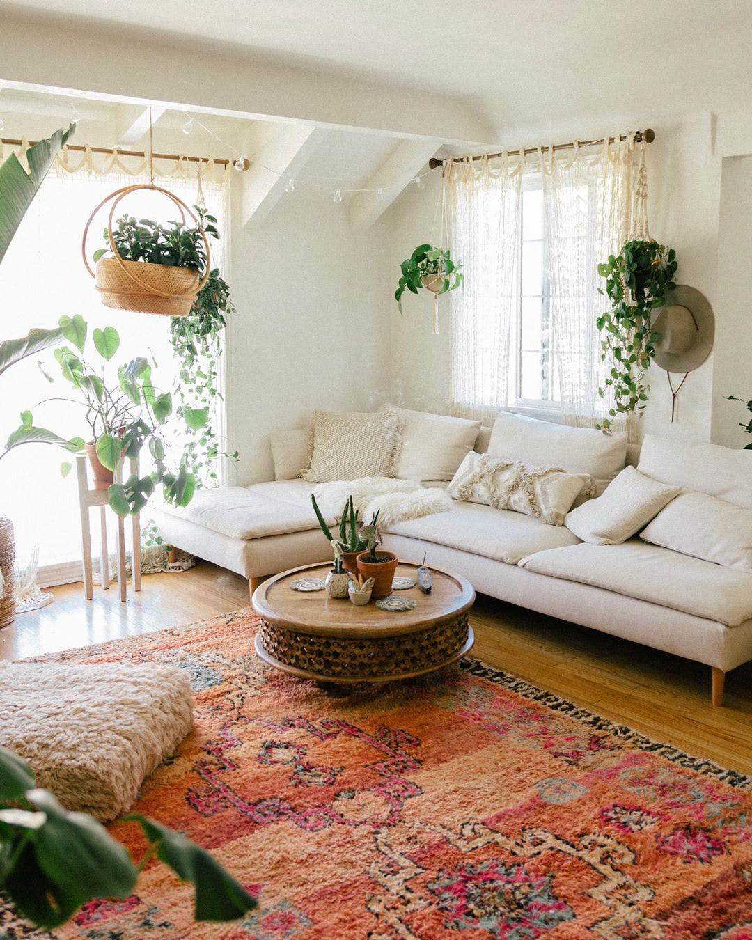 This photo captures Sara's style perfectly. Tons of plants, color, and interesting furniture pieces. Love.