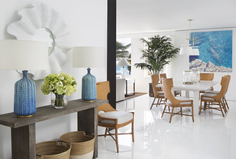 Full Modern living space with coastal chic inspiration and gorgeous oversizes plants.