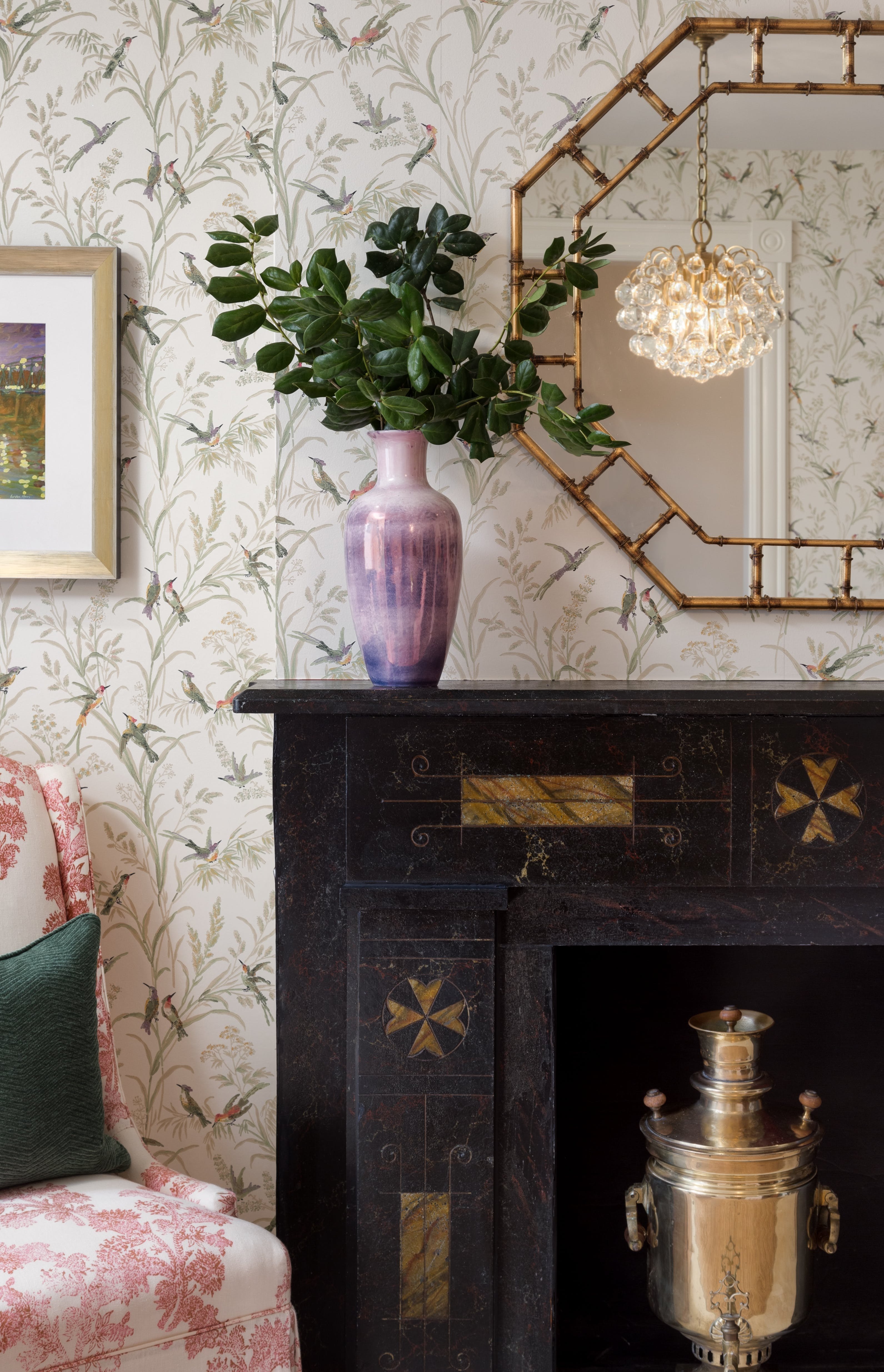 Detail photo of wallpaper, rustic wall mirror and vases