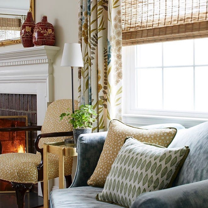 Traditional decor with muted palette in this great room