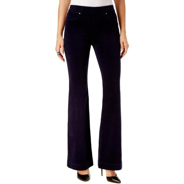 6830 Womens Navy Solid Flared Pull Corduroy Pants