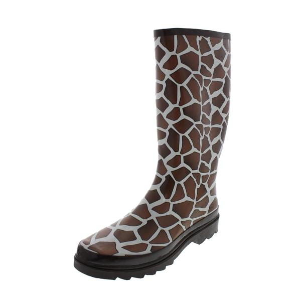 Girl Raisin Brown Giraffe Print Waterproof Rain Boots Shoes 9 Bhfo