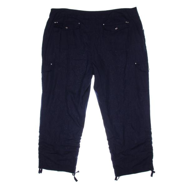 3583 Womens Navy Linen Ruched Casual Cargo Pants