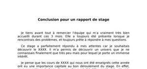 Conclusion Rapport De Stage Exemple Rapport De Stage