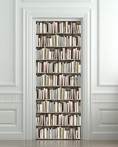 Door STICKER book pastel library cabinet strapper box