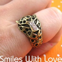 Leopard Cheetah Animal Ring in Bronze with animal print ...