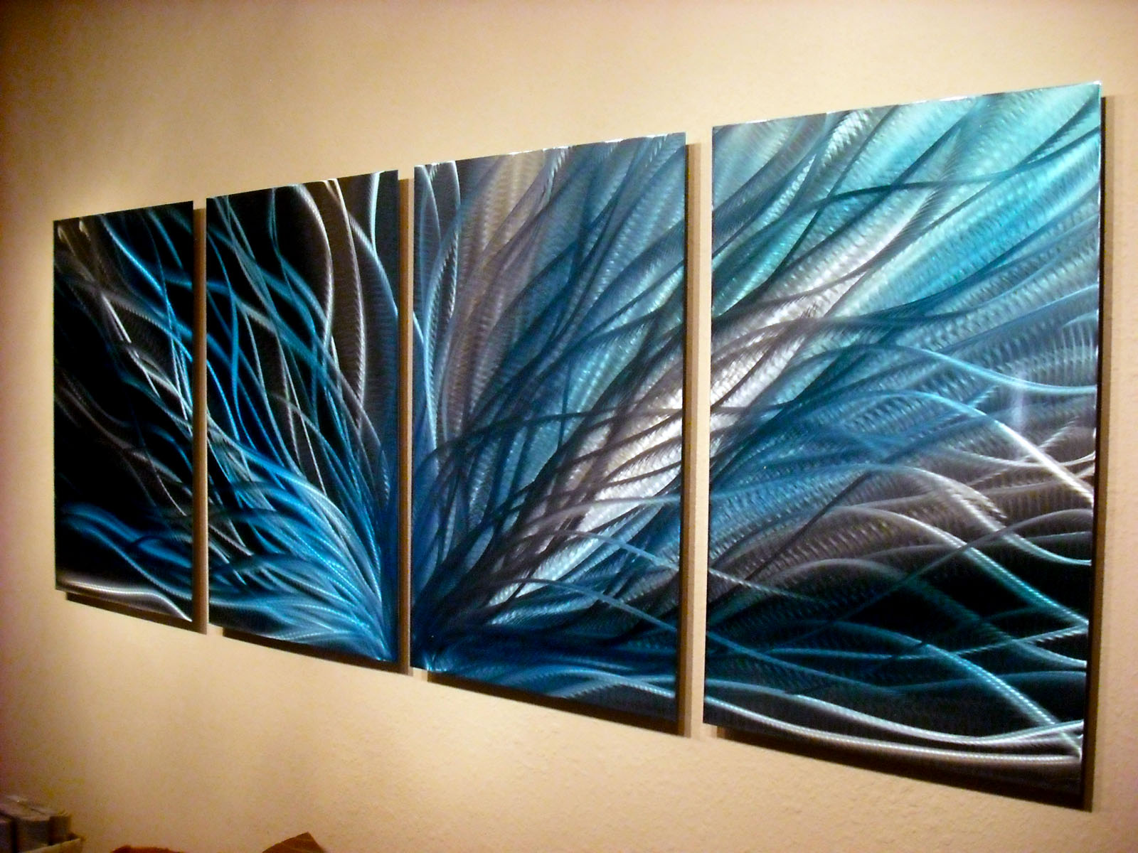 Radiance In Blues- Abstract Metal Wall Art Contemporary