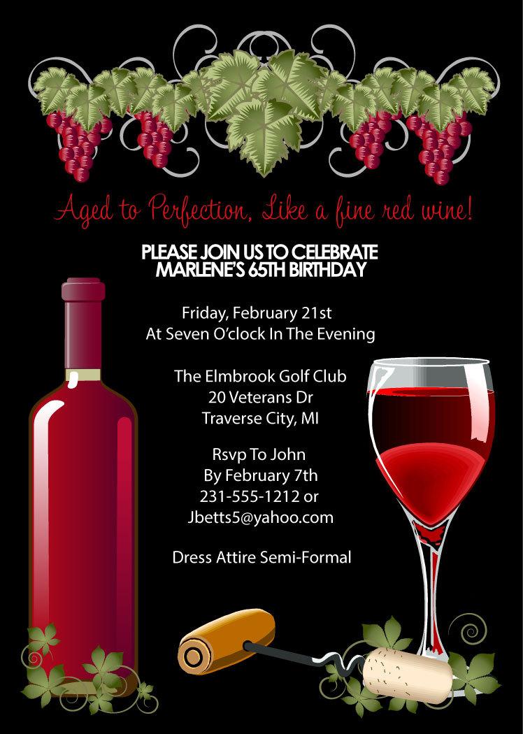 wine invitation adult birthday party