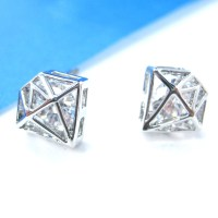 SMALL 3D Diamond Shaped Rhinestone Shiny Bling Stud ...