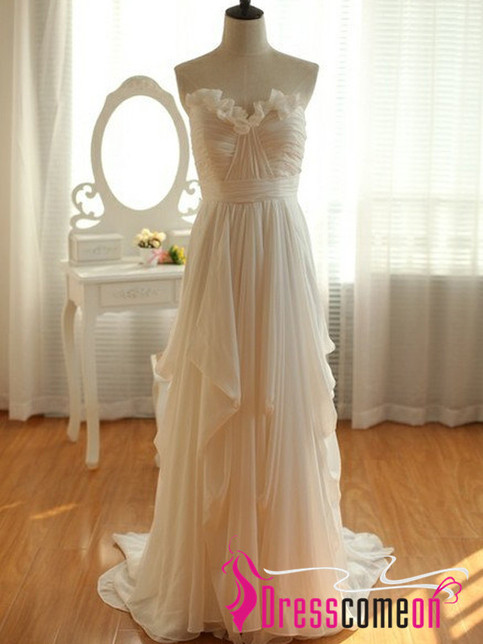 Cheap High Low Wedding DressCustom Ivory Chiffon Beach