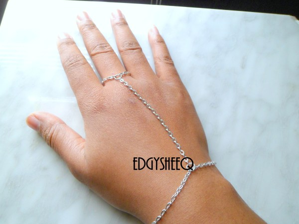 Silver Hand Chain Attached Ring Bracelet Simple