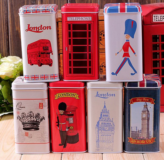 Set Of 7 Retro Vintage London Style Tea Tin Box Christmas Gift