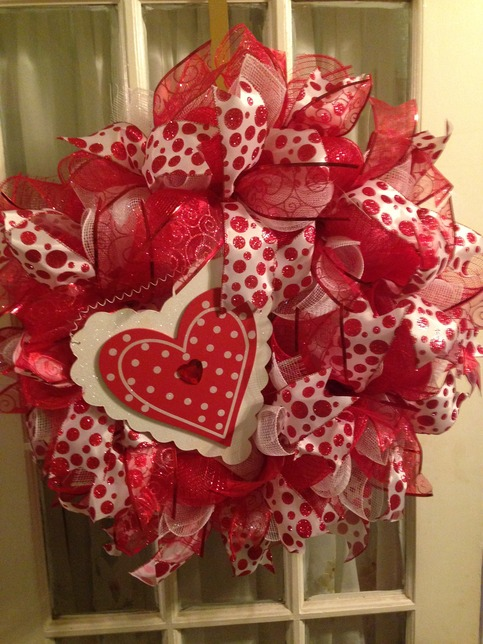 Valentine Heart Red White Deco Mesh Wreath Wooden Heart on Storenvy
