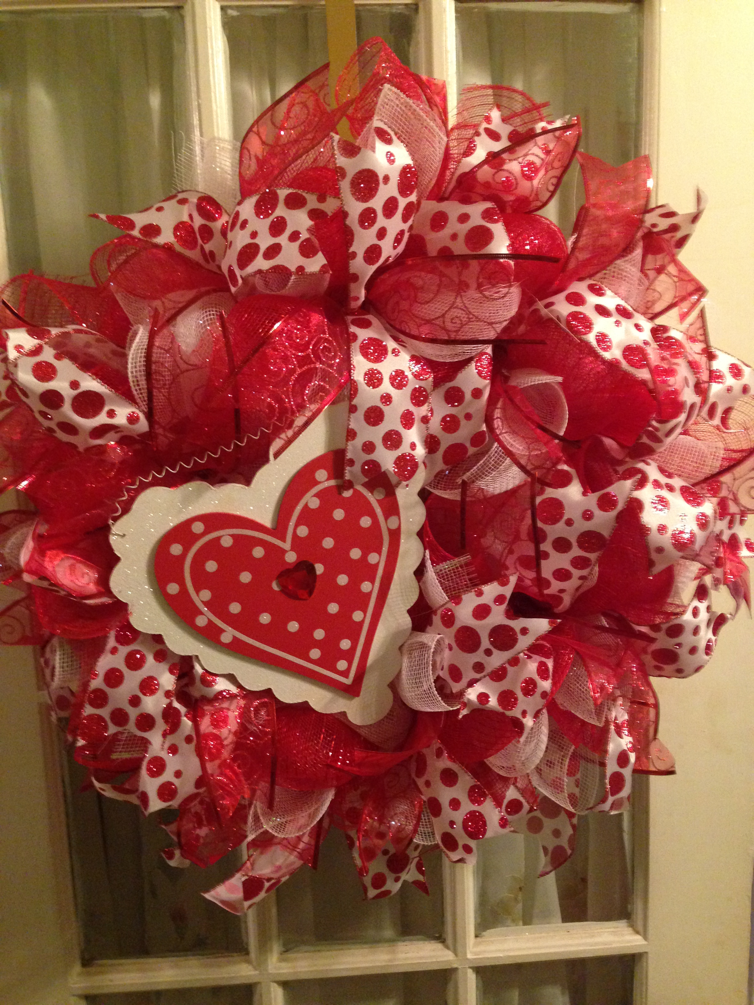 Valentine Heart Red White Deco Mesh Wreath Wooden Heart