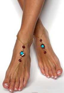 Bohemian Chained Barefoot Sandals In Aqua Brown And Gold