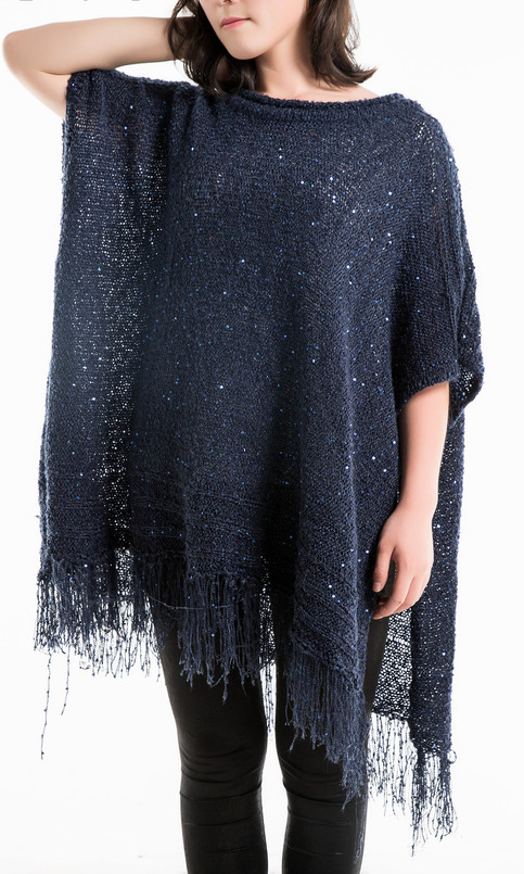 Womens Metallic Sequin Tunics Poncho fringe Pullover Chunky Sweater on Storenvy