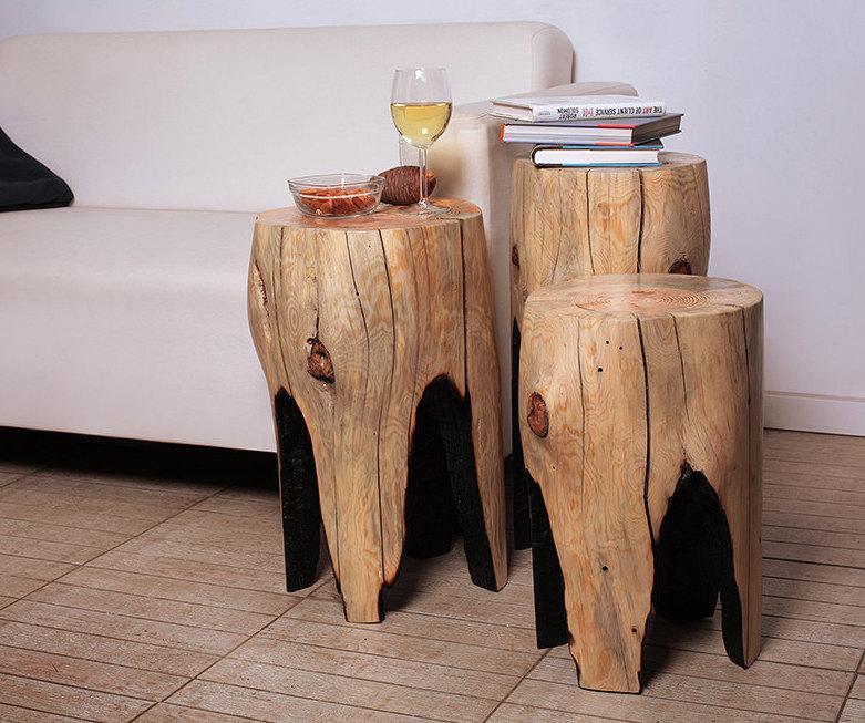 wood furniture rustic tree stump table