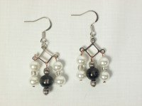 Faux Pearl and Black Dangle Earrings on Storenvy