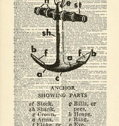 anchor parts diagram boat ship sailing sea printed on upcycled vintage dictionary paper 7 75x11 [ 1527 x 2182 Pixel ]