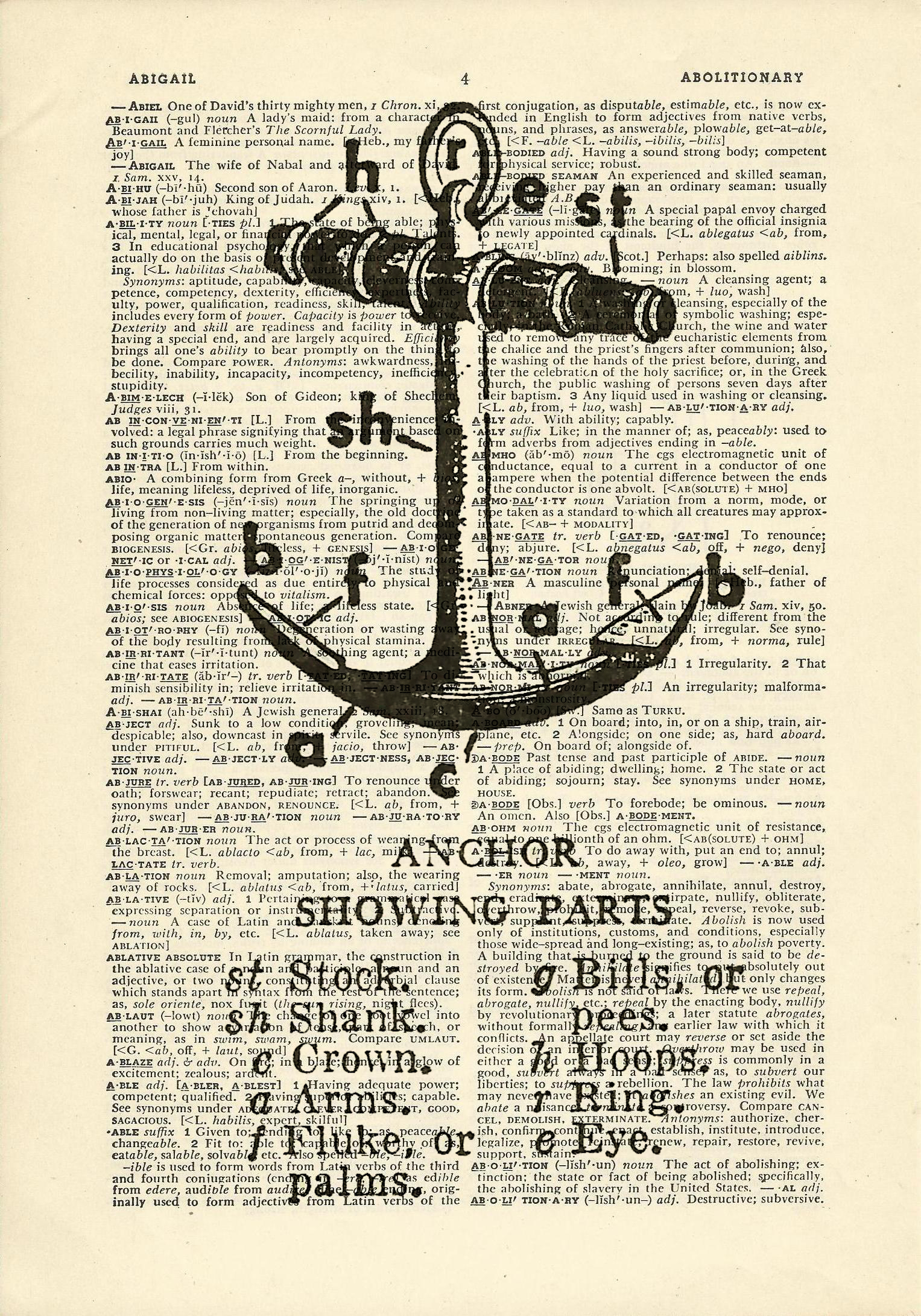hight resolution of anchor parts diagram boat ship sailing sea printed on upcycled vintage dictionary paper 7 75x11