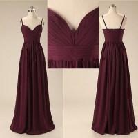 Spaghetti Straps Dark Burgundy Long Bridesmaid Dresses,A
