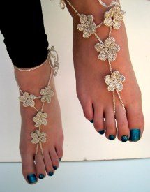 Flower Barefoot Sandals White Sandles Beach