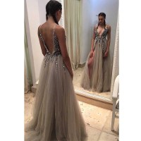 Backless Rhinestone prom dress, long tulle prom dresses ...