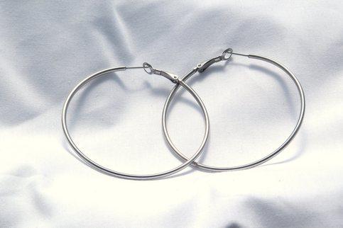 60 mm Stainless Steel Round Hoop Earrings Hypoallergenic