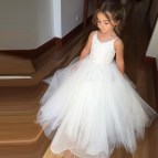 Princess -line Straps Long White Tulle Flower Girl Dress