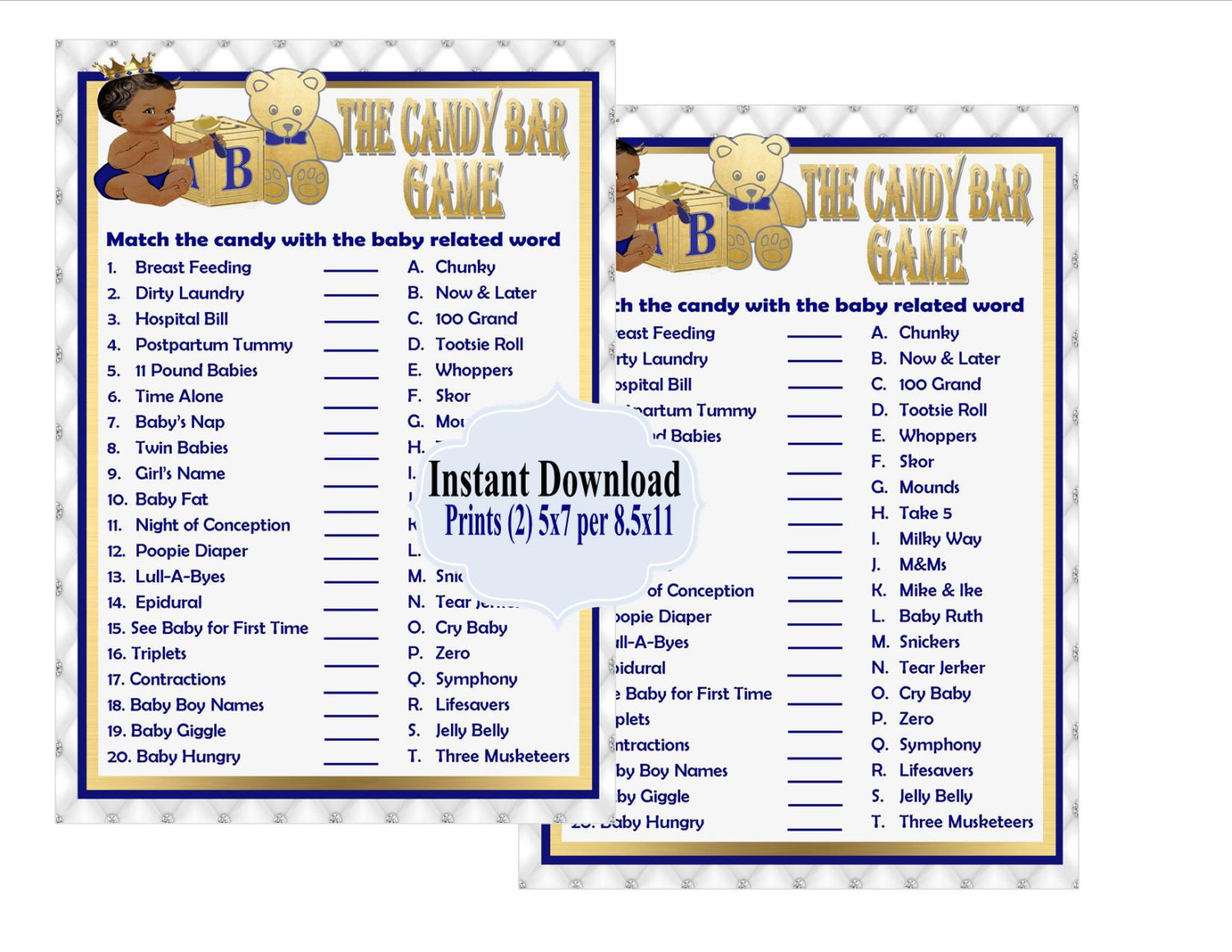 Printable Royal Baby Shower Game The Candy Bar Game On