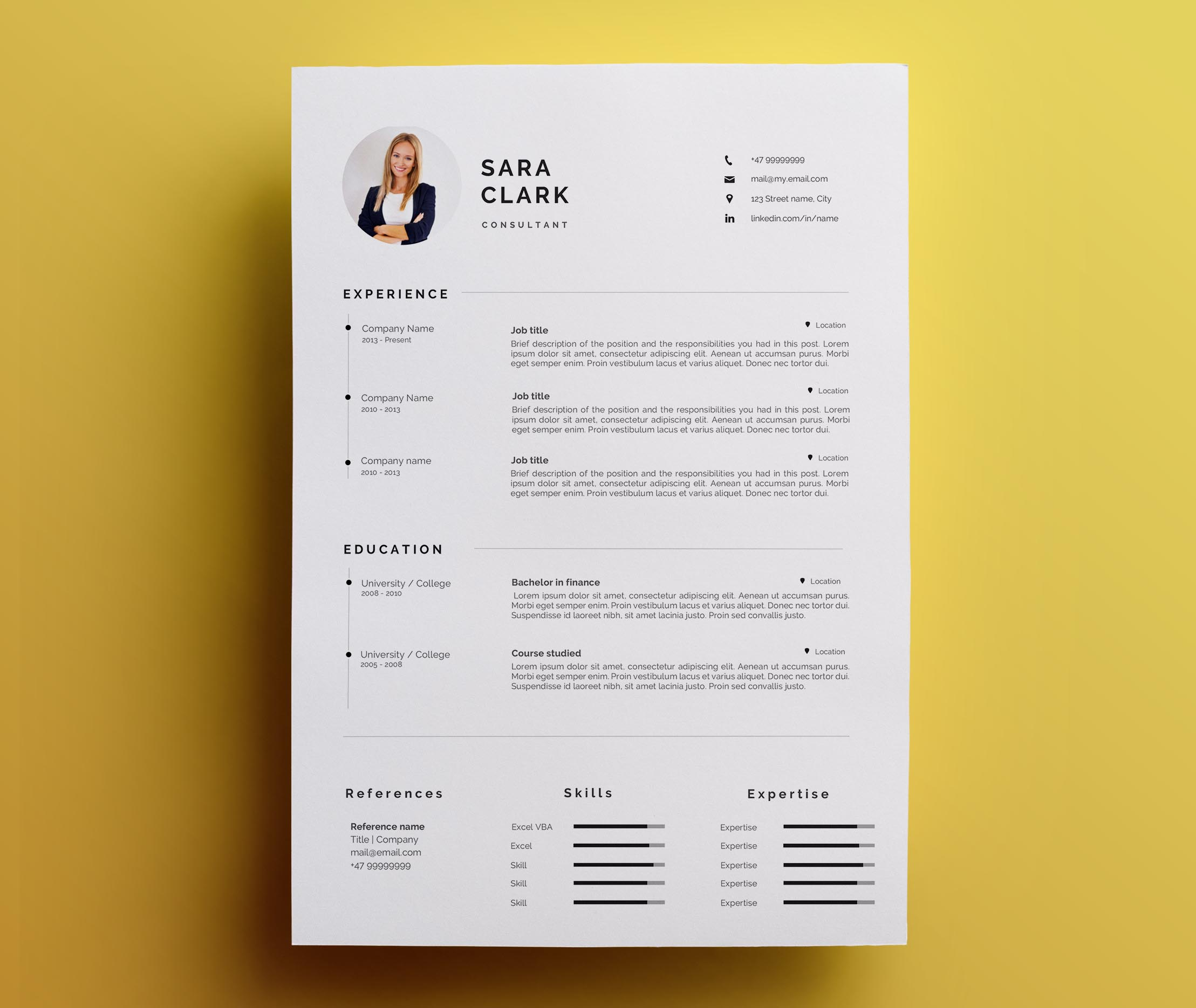 Modern Resume Template Download Modern Resume Template Cover Letter Icon Set For Microsoft Word One Page Resume Professional Cv Instant Download