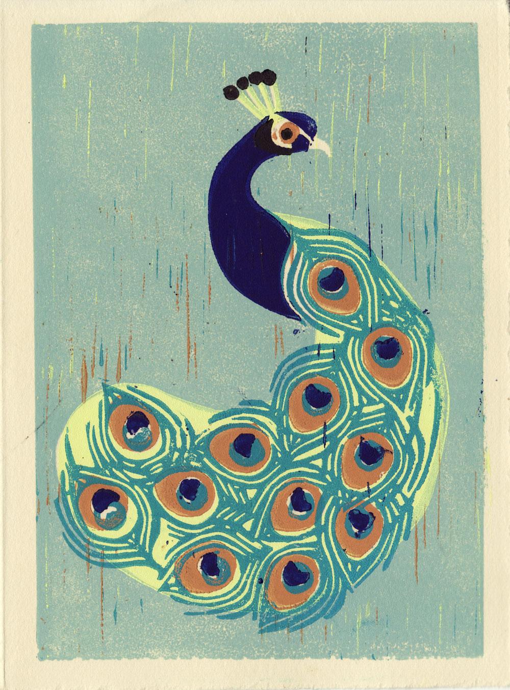Indian Peacock Hand Pulled Linocut Illustration Art Print