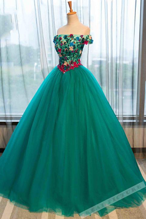 Green tulle applique offshoulder Aline prom dressball
