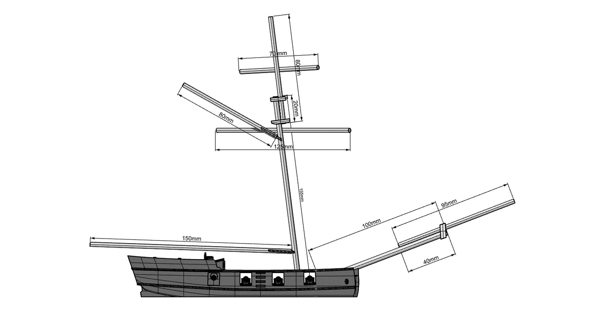 hight resolution of  8 gun buccaneer sloop 15 20mm scale 3d printed kit thumbnail 3