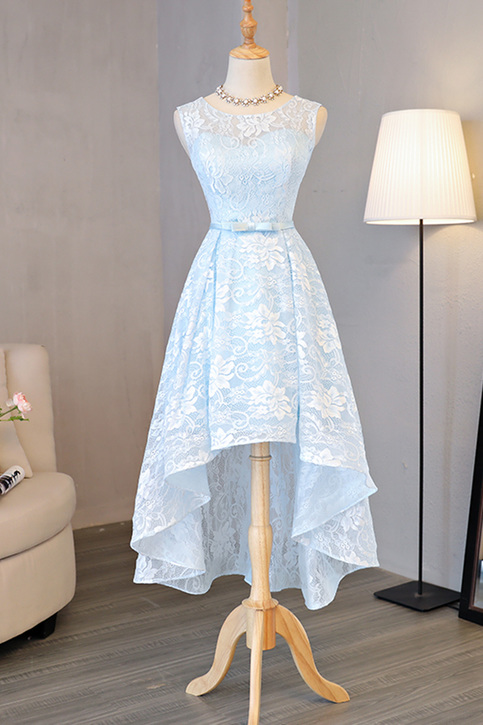 Cheap Prom Dresses by SweetheartDress  Light blue lace round neck high low halter prom dress