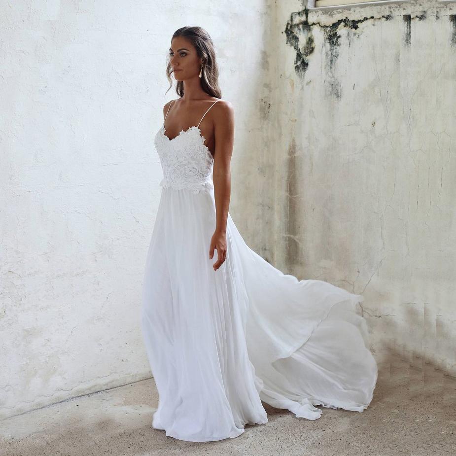 Beautiful Wedding DressesA Line Lace Spaghetti Straps Wedding DressesLong White Wedding Dress