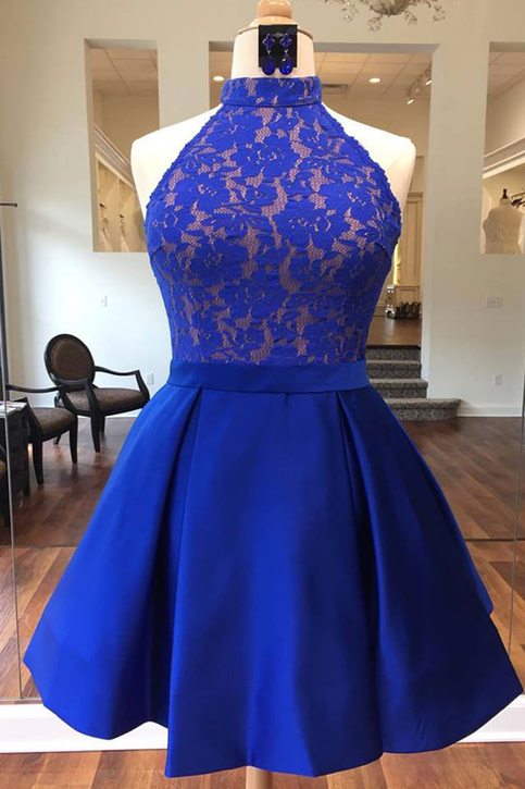 Royal blue satin short lace bridesmaid dress halter prom dress  GirlsProm Prom dresses under 100