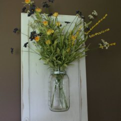 Art For Kitchen Wall Remodeling Ideas Hanging Mason Jar Vase On Recycled Wood Cabinet Door ...